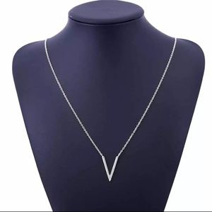 Jewelry - Elegant V Pendant Silver Necklace